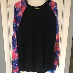 Black baseball tee with galaxy print sleeves